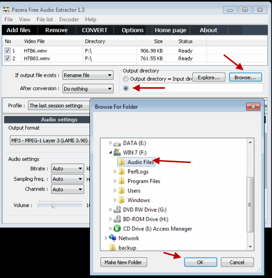 Specify the Location of Converted Output Files