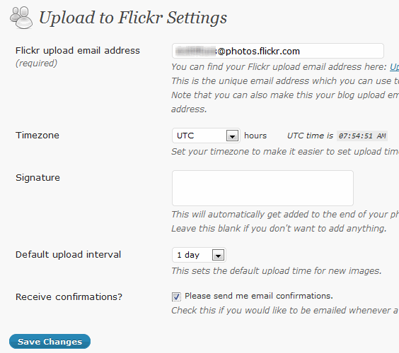 FlickrQ Photo Upload settings