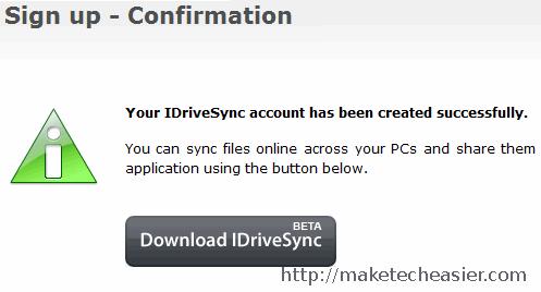 Sign up on IDriveSync