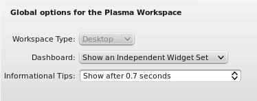 KDE Dashboard settings