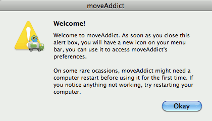 moveAddict first use
