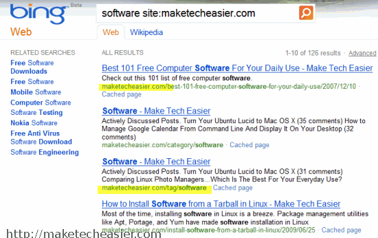 Site specificsearch Bing