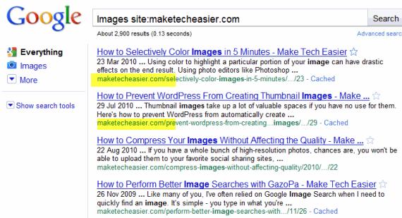 Site specific search Google