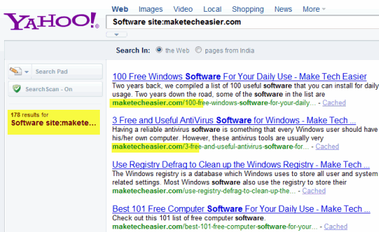 Site Specific Search at Yahoo