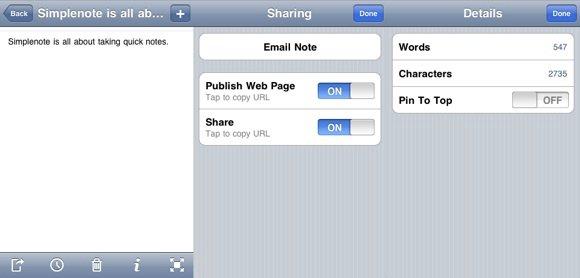 Simplenote mobile