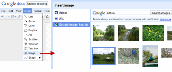 Google Docs Drawing - Insert Images