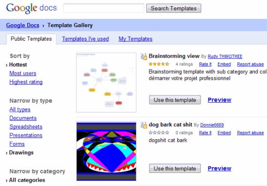 GoogleDocs Drawing Templates