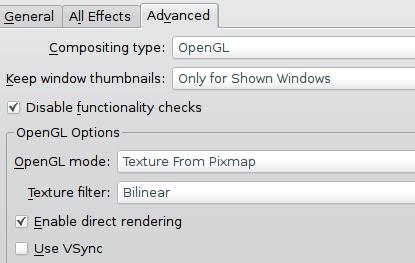Desktop effects advanced settings