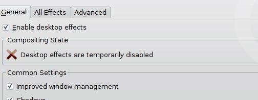 Desktop effects general tab