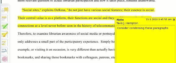 Okular highlighting and notes