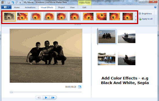 Add Color Effects Windows Movie Maker