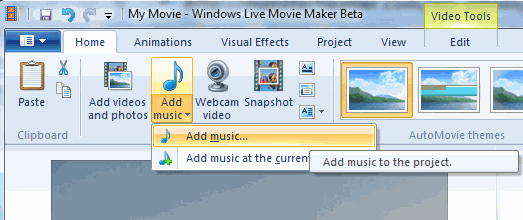 Add Music Windows Movie Maker Project