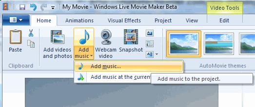 Add Music Windows Movie Maker Project