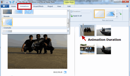 Set Animation duration Windows Movie Maker