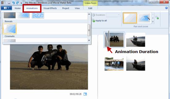 Set Animation duration Windows Movie Maker