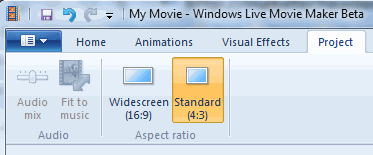 Choose Project Format Windows Movie Maker