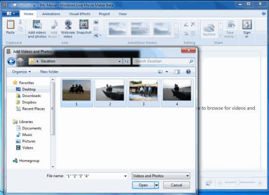 Import Media Files Windows Movie Maker