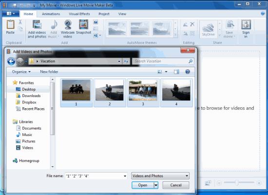 Import Media Files Windows Movie Maker
