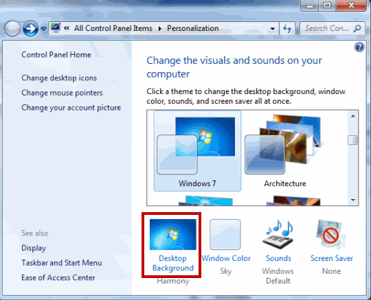 Create Windows7 theme -change background