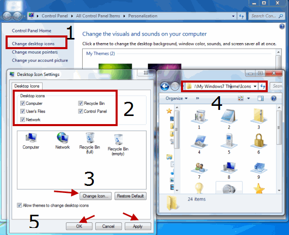 Create Windows7 Theme - Change Desktop Icons