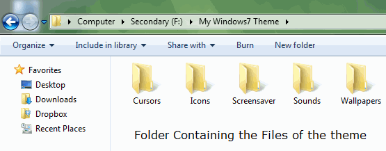 Create a Windows7 Theme - Save Items in Custom Folder