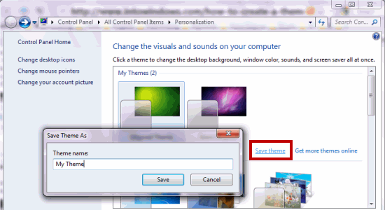 Create Windows7 theme - Save themepack