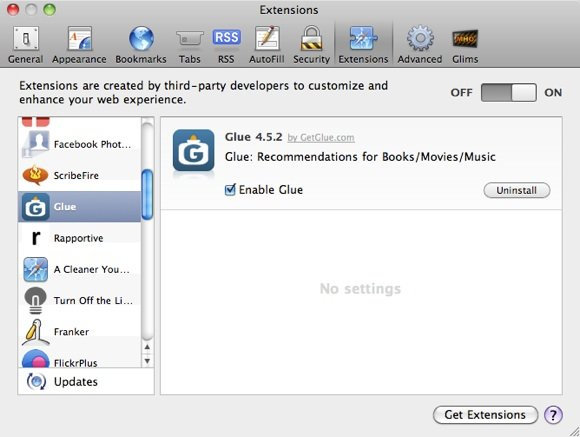 GetGlue Safari Extensions