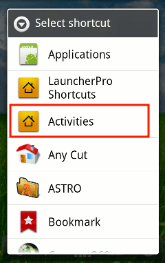 android-shortcut-activities