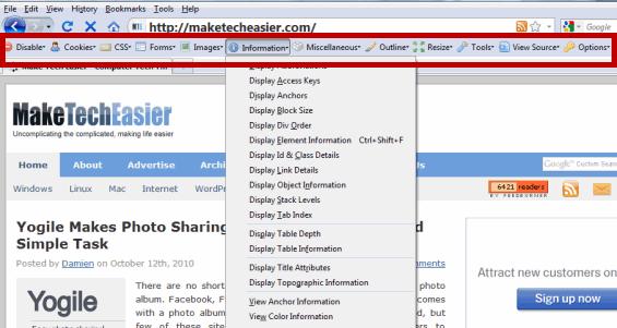Web Developer Toolbar Firefox Add-on