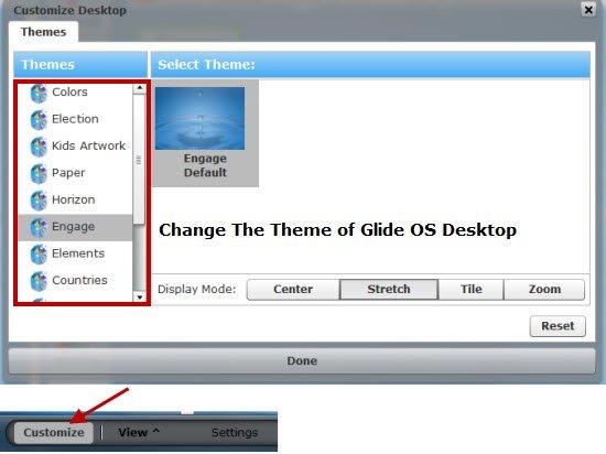 Customizing the Glide desktop