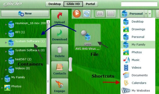 Managing files folders Glide OS