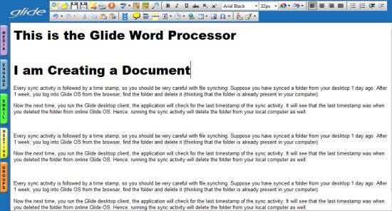 Glideos Application - Word processor