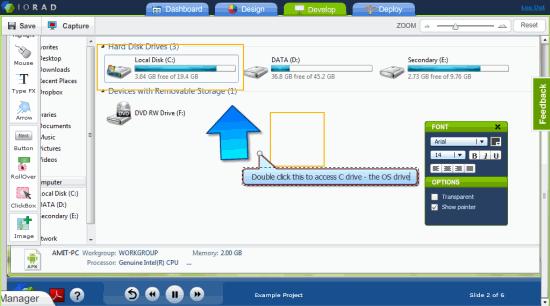 Adding Text Instructions IORAD app editor
