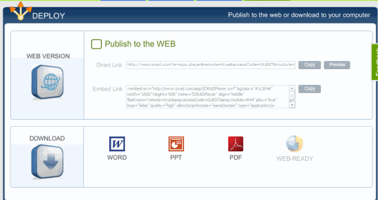 Embed Recording or Download ad PDF, Word Document
