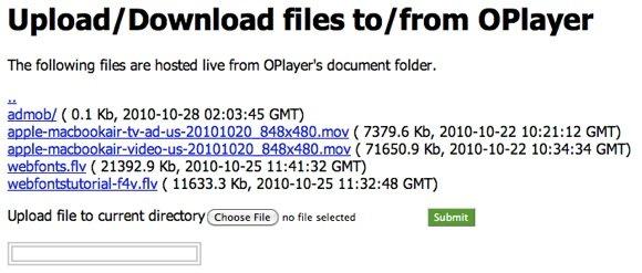 OPlayer WiFi Transfer