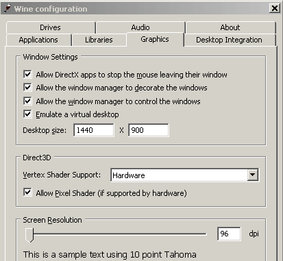 Wine configuration interface