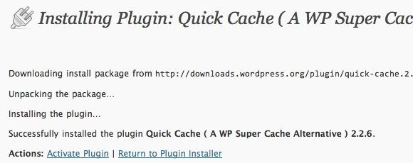 Speed WordPress - Plugin Install - Quick Cache