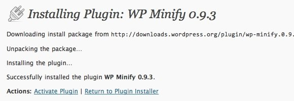 Speed WordPress - Plugin Install - WP Minify