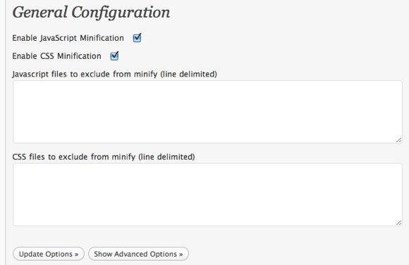 Speed WordPress - WP Minify - Configuration