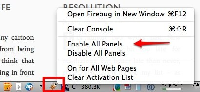 YSLow Enable Firebug on the page