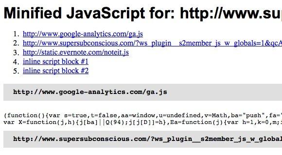 YSLow Minified JavaScript