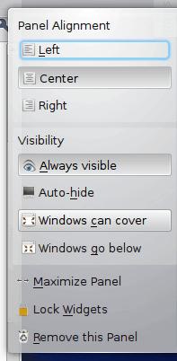 KDE panel - more settings