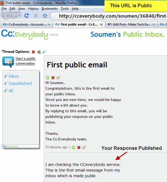 Working of CC Everybody Public Email Inbox