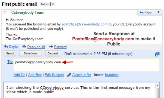 Send Response to an Email and Make it Public