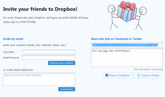 Earn More Dropbox Space By Referring Friends