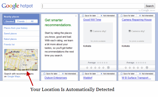Google HotPot Location Detected