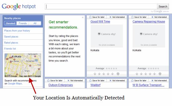 Google HotPot Location Detected