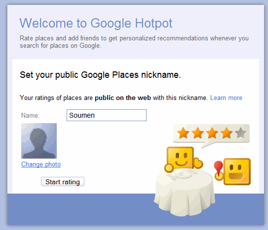 Google HotPot welcome screen