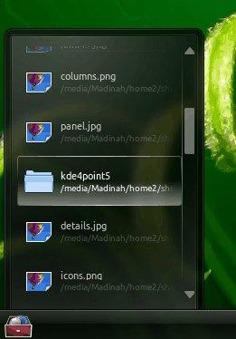 Panel shelf widget