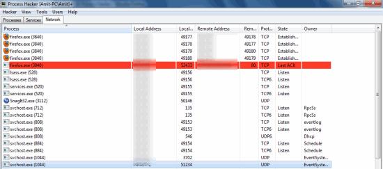 Process Hacker - Managing Windows Network properties